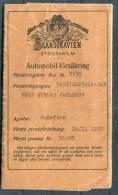 1933 Sweden Skandinavien Stockholm Automobil Forsakring Car Insurance Policy Document - Invoices & Commercial Documents