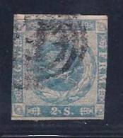 Denmark, Scott # 3 Used Royal Emblem, 1855, Plate 11 #61, White Comma Between 2 & S, 2 Good Margins - Oblitérés