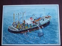 """TRAINIERE A MOTEUR EN PECHE AU THON ROUGE DANS LE GOLFE DE GASCOGNE / BELLE CARTE EDITEE AU PROFIT DE """"ITSAS BEGIA"""" - Pesca"""