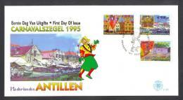 Miv261fb E261 CULTUUR CARNAVAL BOTEN BOOT HUIZEN HOUSES BOAT ARCHITECTURE CULTURE NEDERLANDSE ANTILLEN 1995 FDC - Carnaval