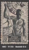1947 - France - Afrique A.E.F. - Piroguier Du Niger - 10 F. Vert-noir - - A.E.F. (1936-1958)