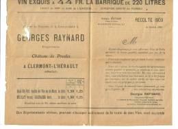 Publicité Georges Raynard Chateau De Presles Clermont-l'Herault 1909 - Publicités
