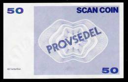 "Test Note ""SCANCOIN - AB TUMBA"" Testnote, 50 Units, Beids. Druck, RRRRR, UNC -, Provsedel 130 X 82 Mm, Type A - Sweden"