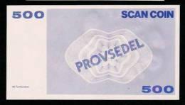 "Test Note ""SCANCOIN - AB TUMBA"", 500 Units, Beids. Druck, RRRRR, UNC, Provsedel 150 X 82 Mm, Typ A - Schweden"