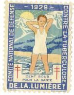 DE LA LUMIERE Garcon Baigneur En Maillot Comité National De Défense Contre La Tuberculose 1929 100 Sous Illustrateur - Altri