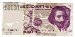 BILLET ITALIE - P.116 - 50000 LIRE - 1992 - BERNINI - STATUE EQUESTRE - CHIFFRE EN VERT - 50000 Lire