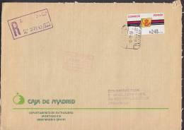 Spain Registered Certificado CAJA DE MADRID 1992 Cover Letra DANSKE BANK Denmark ATM / Frama Label Franking - Poststempel - Freistempel