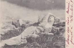 DONNA SDRAIATA SULL'  ERBA SERIE N. 1504  VG 1902 ILL. REUTLINGER AUTENTICA 100% - Illustratori & Fotografie