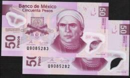 MEXICO   2 CONSECUTIVE PCS X    P123   50  PESOS  3 May 2010 Serie Q   UNC. - Mexique
