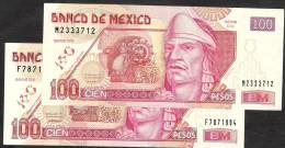 MEXICO  2 PCS =  P118c & 118d  100  PESOS   26 March 2002  & 23 May 2003 UNC. - Mexico