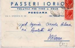 CARTOLINA POSTALE COMMERCIALE PUBBLICITARIA -DITTA PASSERI IORIO-VOLATILI PER TIRO A VOLO-PESCARA - 1946-60: Marcofilie