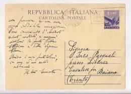 STORIA POSTALE CARTOLINA POSTALE 8 LIRE DEMOCRATICA CON ANNULLO TARGHETTA 1948 - 6. 1946-.. Repubblica