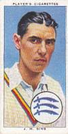 Player Vintage Cigarette Card Cricketers 1938 No 23 J M Sims Middlesex & England - Player's