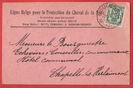 """TP 425 Petit Sceau HOUDENG GOEGNIES  1937  CP Pub """"Ligue Pour La Protection Du Cheval De La Mine"""" CHARBON CHARBONNAGE - Briefe U. Dokumente"""