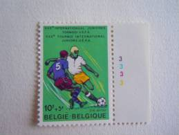 België Belgique 1977 PLANCHE 3 Voetballer Foot COB 1851 MNH ** - Plattennummern
