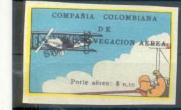 COMPAÑIA COLOMBIANA DE NAVEGACION AEREA PORTE AEREO $ 0,10.- EN SOBRECARGA NEGRA YVERT NR. 4 RARE SOLD AS IS SPECIMEN PR - Colombie