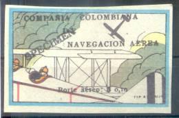 COMPAÑIA COLOMBIANA DE NAVEGACION AEREA PORTE AEREO $ 0,10.- EN SOBRECARGA NEGRA YVERT NR. 6 RARE SOLD AS IS SPECIMEN PR - Colombie
