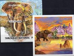 Africa Naturschutz Elefanten 1991 Tansania Block 164 Plus 228 O 10€ WWF Nationalpark Fauna Bloc Mammut Sheet Bf Tanzanie - Nature