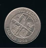 ISLANDIA - ICELAND -  10  Koronas  1994  KM29 - Islandia