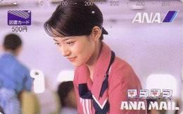 Carte Prépayée Japon - Avion Aviation - Airlines ANA Hôtesse De L´air - Japan Prepaid Card Femme Girl - 86 - Vliegtuigen