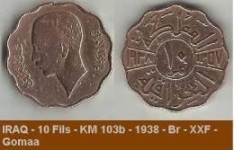 IRAQ - 10 Fils - KM 103b - 1938 - Br - XXF - Gomaa - Irak