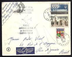 LETTRE DE PREMIERE LIAISON AÉRIENNE- PARIS-  AFRIQUE DU SUD PAR LUFTHANSA- BOEING 720 B  -BEAU TIMBRAGE- - Postmark Collection (Covers)