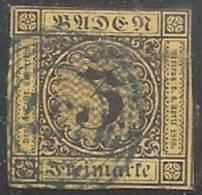 ALEMANIA 1851/52 (BADEN) - Yvert #2 - VFU - Baden