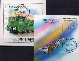 Transport 1993 Tanzania Block 165 Plus 226 O 5€ E-Lok 1952 Figther EAP Bf Blocchi Train Bloc Military Sheet Of Tansania - Militaria