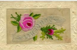 Carte Brodée - SOUVENIR Roses - Brodées