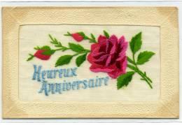 Carte Brodée - HEUREUX ANNIVERSAIRE - Roses - Brodées