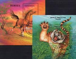 Wild-Pferd Anglo Norman WWF 1993 Tanzania Block 235+251 O 6€ Wilde Tiger Bf Fauna Bloc Panthera Tigris Sheet Of Tansania - Sciences