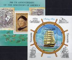 Segelschiff 1992 Entdeckung Amerika Tanzania Block 189 Plus 244 ** 7€ Columbus History Ship Bloc Barke Sheet Bf Tansania - American Indians