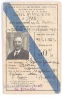 CARTE INVALIDITE 1939 - CREUSE - Documents Historiques