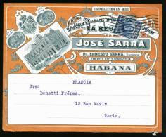 A1786) Cuba Kuba Advertising Cover From Havana 09/14/1912 To Paris / France !! - Kuba
