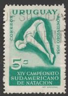 1958 5c Diver, Used - Uruguay