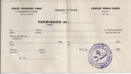 Feuille De Permission 1945 - Transportation Tickets