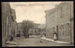 """CPA ANCIENNE- FRANCE- PLAN-DE-LA-TOUR (83)- HOTEL """"PIN""""- PLACE DES ÉCOLES- BELLE ANIMATION- POULE- TRES GROS ARBRE- - Other Municipalities"""