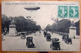 Cpa PARIS Début XXe Siècle - Le Dirigeable Mixte MALECOT Au Dessus Des Champs Elysées - Zeppeline