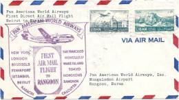 First Direct Air Mail Flight - First Direct Air Mail Flight Beyrouth To Rangoon - MYANMAR / BURMA - Myanmar (Birmanie 1948-...)