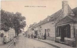 37 GIZEUX  Rue Principale Du VILLAGE Animée Femmes Enfants COMMERCES En 1918 - Frankreich