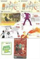 Thailand-ALS-TRUE MONEY-(set J)-8 Cards Prepiad-used+3 Card Prepiad Free - Thaïlande