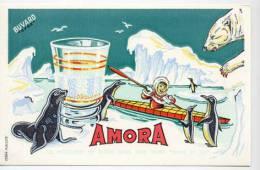 Buvard  Marque  AMORA  Moutarde De  DIJON  ( 21 )  Buvard  EFGE  Les Phoques - Collections, Lots & Series