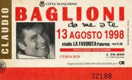 """PALERMO CLAUDIO BAGLIONI """"DA ME A TE"""" 1998 - Tickets De Concerts"""