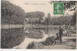 CPA 91 ORSAY Le Canal Et Le Viaduc Pêcheurs à La Ligne 1912 - Orsay