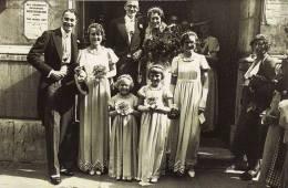 Postcard London City Wedding 1935 Sare Coppock Christ Church Newgate Nostalgia - Events