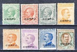 Corfù 1923 Sassone Serie N. 30 N. 1 - 8 MOLTO FRESCHI MNH Cat. € 212 - Corfu