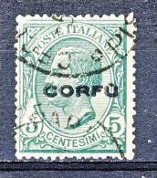 Corfù 1923 SS 30 N. 1 C. 5 Verde USATO Cat. € 20 - Corfu