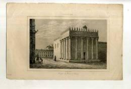 - PORTUGAL . TEMPLE DE DIANE A EVORA . GRAVURE SUR ACIER DE LA 1ere 1/2 DU XIXe S. - Archeologie
