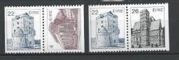 Irlande 1985 N°487a - 495a Et 487a/488a Neufs ** En Paires Issues De Carnet Architecture Irlandaise, - 1949-... Republic Of Ireland