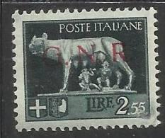 ITALY KINGDOM ITALIA REGNO 1944 REPUBBLICA SOCIALE ITALIANA RSI GNR L. 2,55 MNH BEN CENTRATO - 4. 1944-45 Repubblica Sociale
